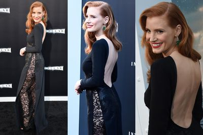<i>Zero Dark Thirty</i> star Jessica Chastain rocked up to the <i>Interstellar</i> world premiere in this butt-skimming split dress that made the prospect of knickers totally impossible.<br/><br/>But Jess, 37, didn't let that bother her as she strutted the red carpet at the Chinese Theatre in Hollywood, joined by her <i>Interstellar</i> co-star Anne Hathaway, also donning a super-racy number.<br/><br/>Scroll through for a closer look...<br/><br/>Images: AFP