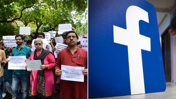 Activists from various organisations participate in a protest to demand to stop the killings of Muslim people in Kashmir, in New Delhi on July 13; the Facebook logo. (AFP/Getty)