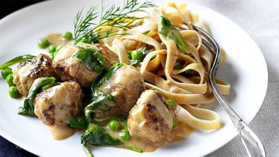 "Recipe: <a href=""http://kitchen.nine.com.au/2016/10/12/15/12/swedish-meatballs-with-wholemeal-fettuccine-pasta"" target=""_top"" draggable=""false"">Swedish meatballs with wholemeal fettuccine pasta</a>"