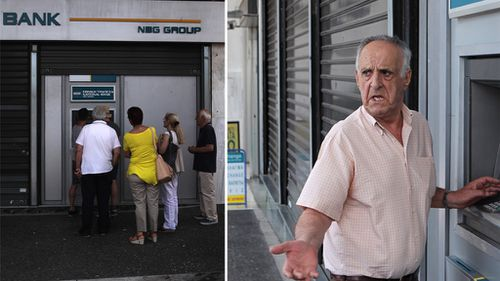 Greek people at ATMs in Athens. (Getty Images)