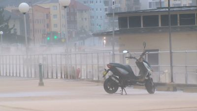 The normally bustling Bondi was deserted this morning as wild winds and rainfall continued to hammer the coast. (9NEWS)