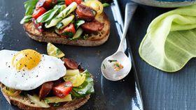 Hayden Quinn's tomato breakfast salad with chorizo, herbs, eggs and toast