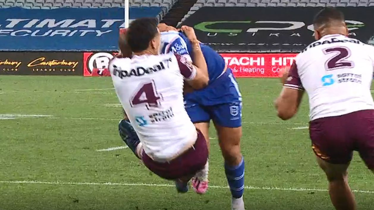 Albert Hopoate stands-up big brother Will with stunning try-saver in Manly win