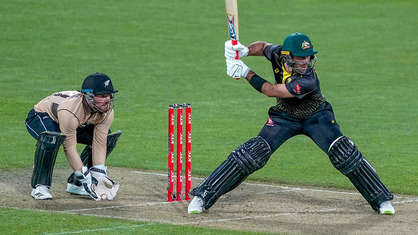 Glenn Maxwell during his innings of 70 in the T20 match against New Zealand in Wellington.