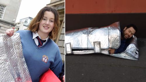 Irish teen invents water resistant and fireproof sleeping bags for the homeless