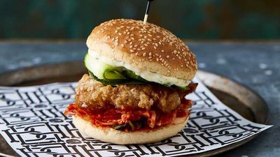 "Recipe: <a href=""http://kitchen.nine.com.au/2017/06/16/06/46/bar-lucas-gluten-free-lil-kimchi-asian-style-chicken-burger"" target=""_top"">Bar Luca's gluten free lil' kimchi Asian style chicken burger</a>"