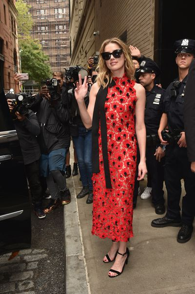 Amber Heard leaving the Oscar de la Renta show during New York Fashion Week, September 11, 2018