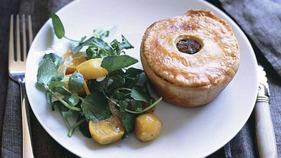 """Recipe:&nbsp;<a href=""""http://kitchen.nine.com.au/2016/05/17/15/01/truffled-pork-pies-with-watercress-and-beetroot-salad"""" target=""""_top"""">Truffled pork pies with watercress and beetroot salad</a>"""