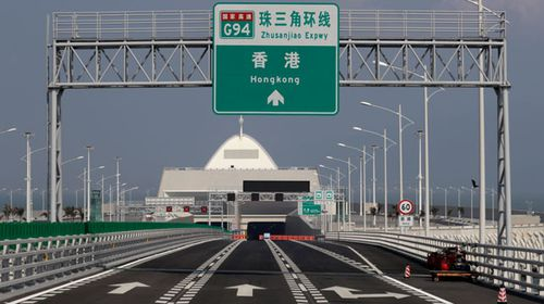 The bridge seen from the Chinese mainland end. (AP).