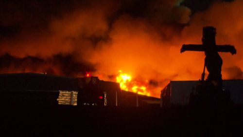 More than 30 trucks are on the scene of a monstrous factory fire in West Footscray, Melbourne.