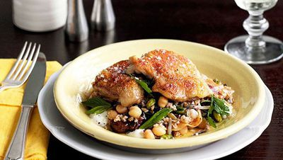 """Recipe:&nbsp;<a href=""""http://kitchen.nine.com.au/2016/05/16/17/18/twicecooked-chicken-with-grain-salad-and-pancetta"""" target=""""_top"""" draggable=""""false"""">Twice-cooked chicken with grain salad and pancetta</a>"""