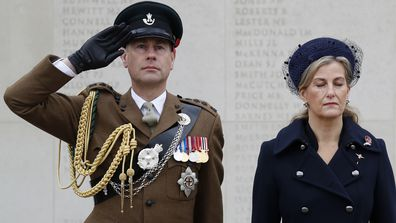 Prince Edward, Earl of Wessex and Sophie, Countess of Wessex attend a service on the Armed Forces Memorial during Armistice Day commemorations at the National Memorial Arboretum on November 11, 2020 in Stafford, England. A small number of visitors were invited to watch in person, however, due to the covid-19 pandemic, the service was also streamed on YouTube and Facebook. (Photo by Darren Staples/Getty Images)