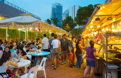 Singapore outdoor hawker food markets