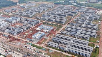 An aerial view of Guangzhou International Health Station, currently under construction.