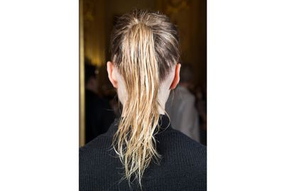 <p>Embrace the textured wet-look ponytail, as spotted at Stella McCartney Fall 2015.</p>