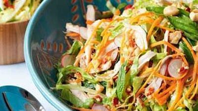 "Click through for our vibrant <a href=""http://kitchen.nine.com.au/2016/05/17/13/01/vietnamese-chicken-salad"" target=""_top"">Vietnamese chicken salad</a> recipe"