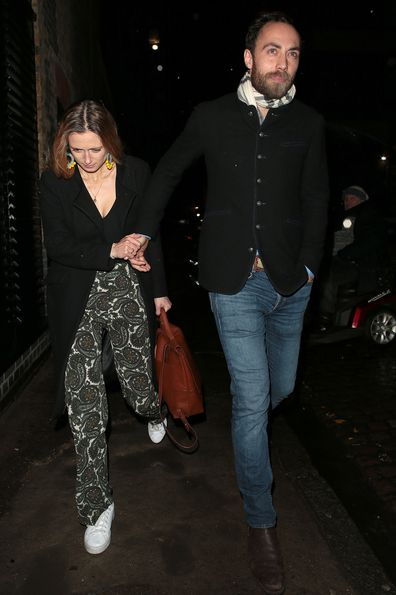 James Middleton and Alizee Thevenet at Princess Beatrice and Edoardo Mapelli Mozzi engagement party at Chiltern Firehouse London