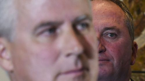 Deputy Prime Minister Michael McCormack (left) and Nationals MP Barnaby Joyce. (AAP)