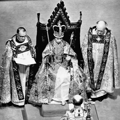A newly crowned Queen Elizabeth II is pictured after her Coronation
