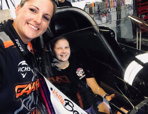 Bettes with aspiring drag racer Zara Board, Anita's sister. (Supplied)