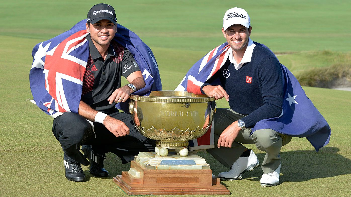 Australian golfers Jason Day (left) and Adam Scott
