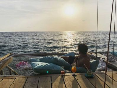Joe Jonas on his honeymoon at Soneva Fushi in the Maldives