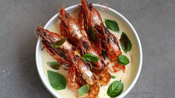 Burleigh Pavillion's The Tropic's grilled tiger prawns, dry vermouth butter, shellfish oil, basil