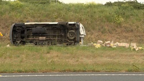 The vehicle rolled on the Western Freeway near Ballarat about 2pm today.
