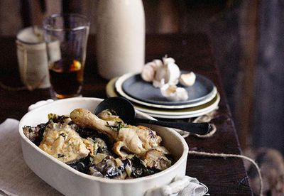 Chicken braised in beer with mushrooms