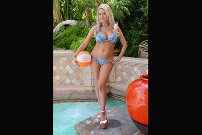 Another (ex) Playboy bunny, Holly Madison, working it in a bikini in Vegas.