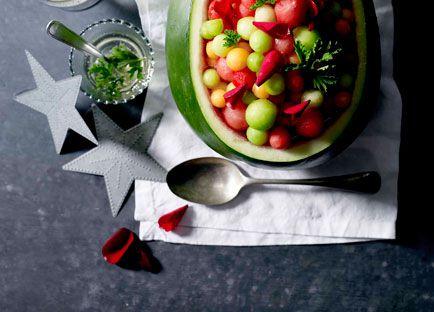 Philippa Sibley: Melon balls with rose geranium leaves