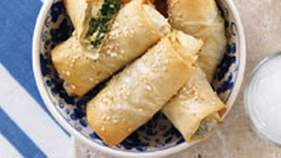 "<strong><a href=""http://kitchen.nine.com.au/2016/05/19/15/16/greek-cheese-and-spinach-rolls"" target=""_top"">Greek cheese and spinach rolls </a>recipe</strong>"