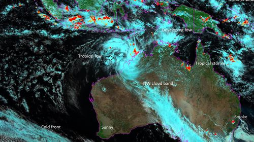 A tropical low developing NNW of Broome, on the Western Australian coast, is expected to reach cyclone intensity late on Monday or on Tuesday.