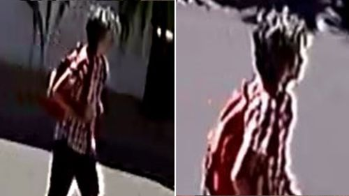 CCTV footage shows her wearing a red chequered long-sleeve top with denim knee-length shorts and carrying a red backpack.