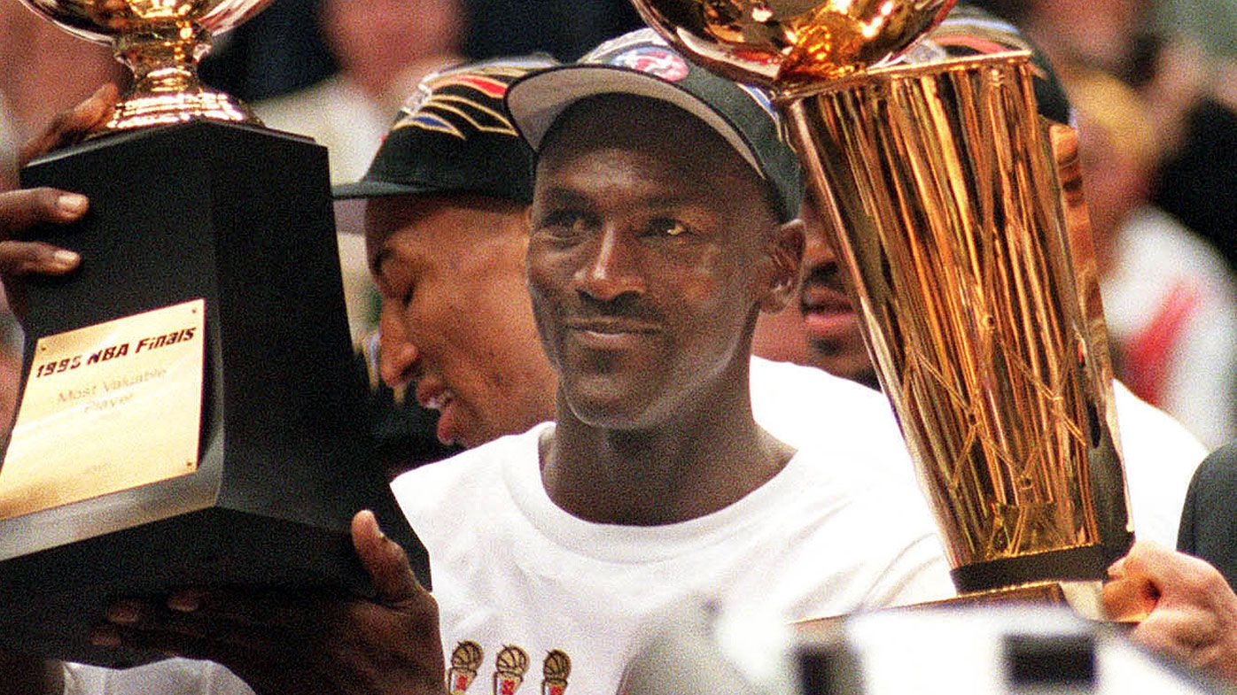 Michael Jordan after winning his sixth championship