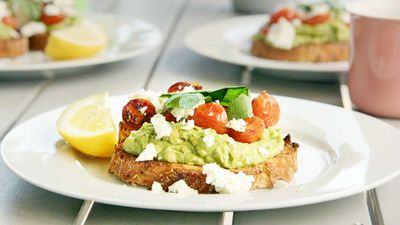 Smashed avo with blistered cherry tomatoes