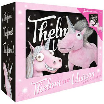 "<a href=""https://www.bigw.com.au/product/thelma-the-unicorn-boxed-set/p/WCC100000000376445/#"" target=""_blank"">Thelma the Unicorn Book Boxed Set by Aaron Blabey, $16.</a>"
