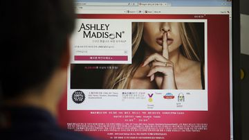 Ashley Madison website on a computer screen