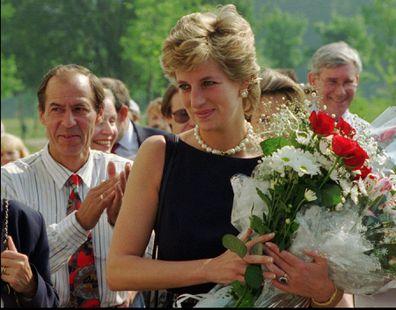 Princess Diana with flowers