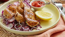 Barbecue chicken skewers with spicy plum sauce