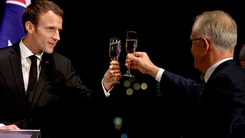 French President Emmanuel Macron and Prime Minister Malcolm Turnbull. (AAP)