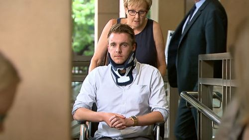 Thomas Charles Adamson being wheeled out of Melbourne Magistrates Court today (9NEWS)