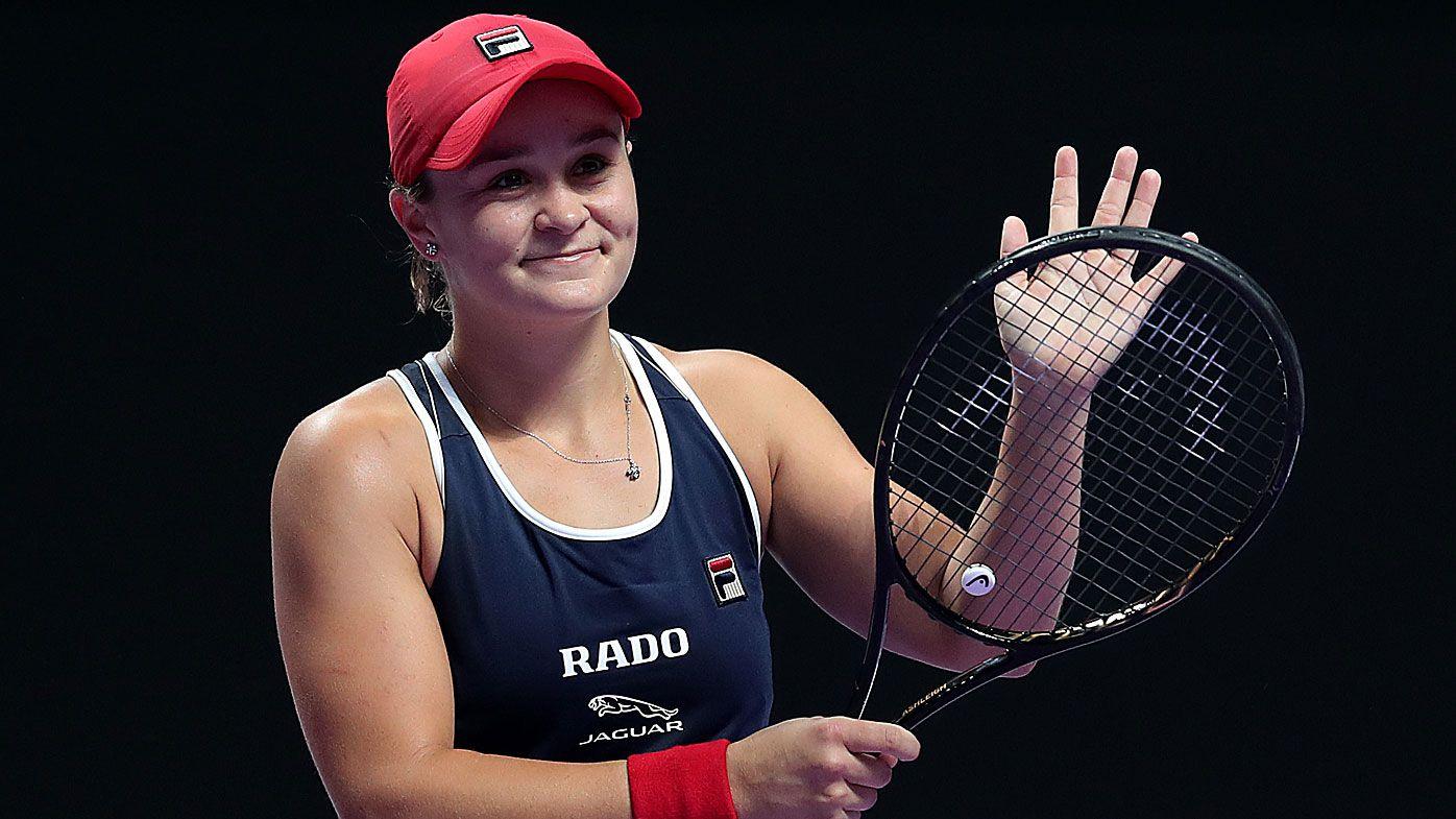 Ashleigh Barty of Australia celebrates match point against Petra Kvitova