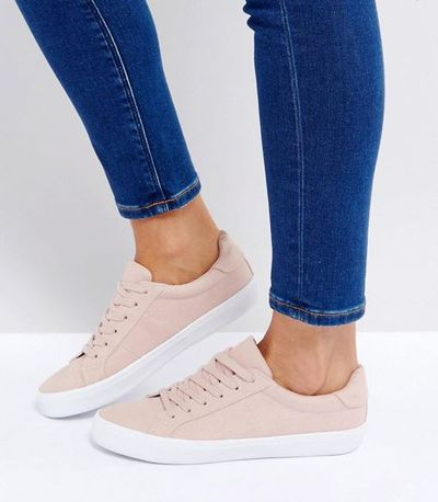 "<a href=""Asos Devlin Lace Up Sneakers in Nude, $30"" target=""_blank"">Asos Devlin Lace Up Sneakers in Nude, $30.</a>"