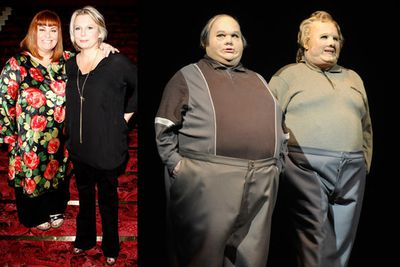 Playing their famous 'Fat Men' characters on stage.