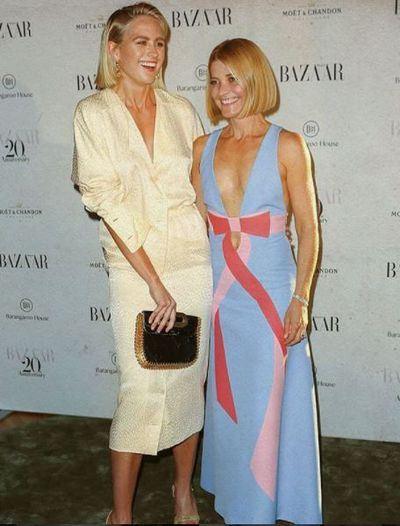 Model Jesinta Franklin and Harpers Bazaar Editor Kellie Hush at the Harper's Bazaar 20th anniversary party
