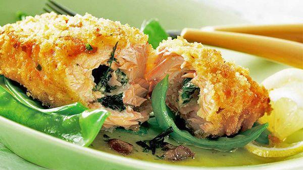 Crunchy salmon kiev