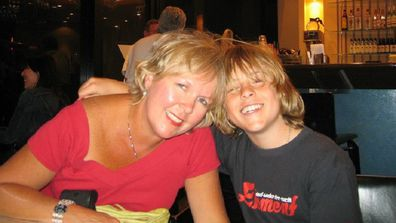 Kerry with her son when he was an adolescent