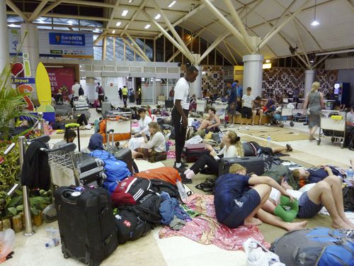 Meanwhile the Lombok Airport has committed to staying open 24 hours a day to deal with the backlog of stranded travellers. Picture: AAP.