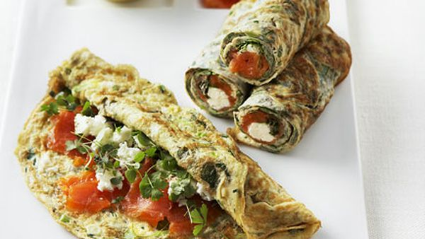 Thin herb frittatas with feta and smoked ocean trout